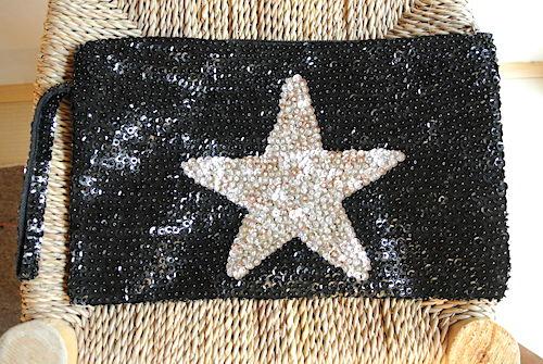 星柄スパンコールポーチ 黒シルバー