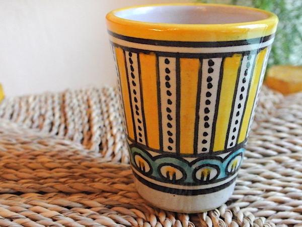 フェズ 陶器 コップ 黄色